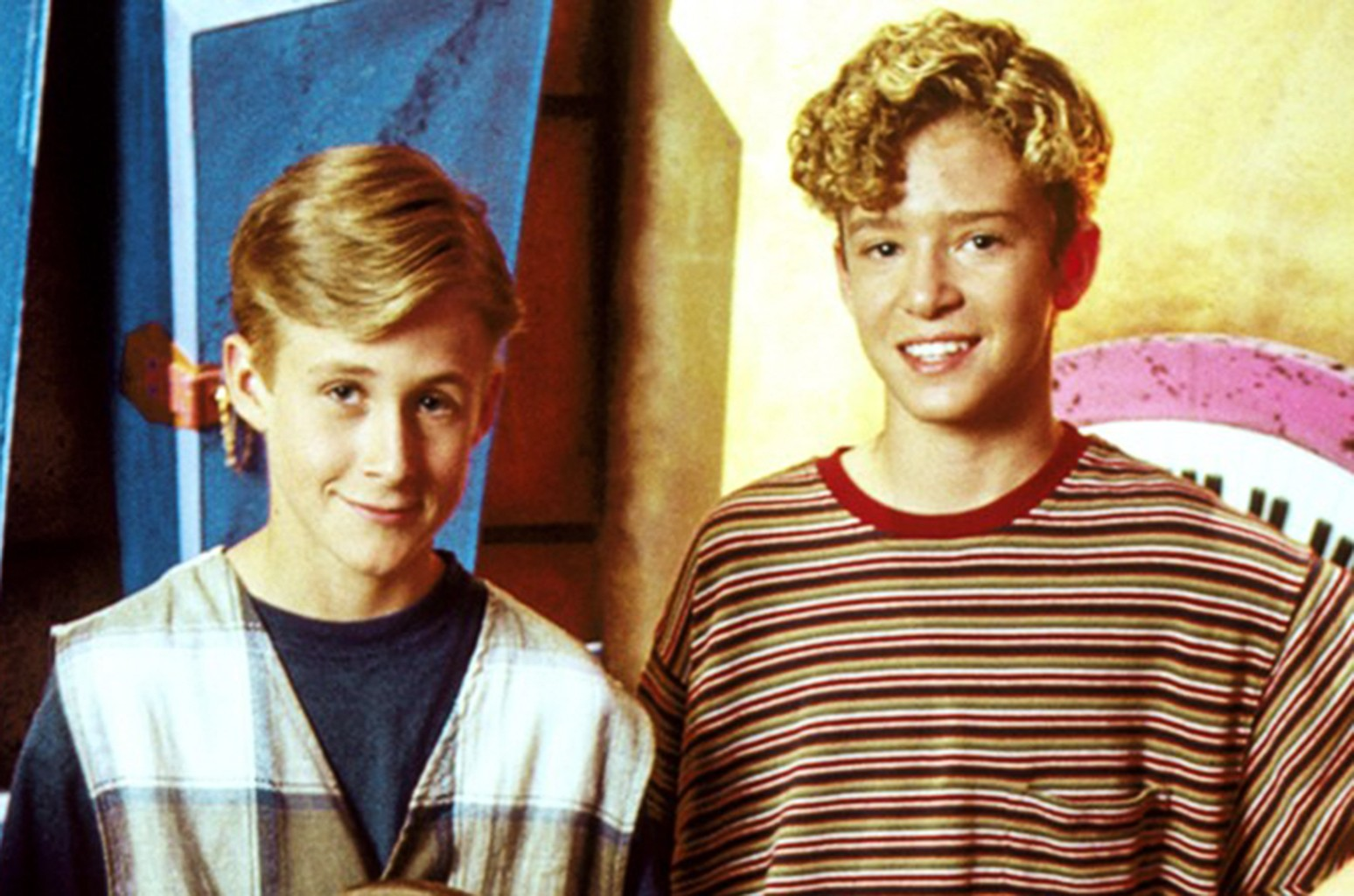 Ryan Gosling and Justin Timberlake in a promo for The All New Mickey Mouse Club.