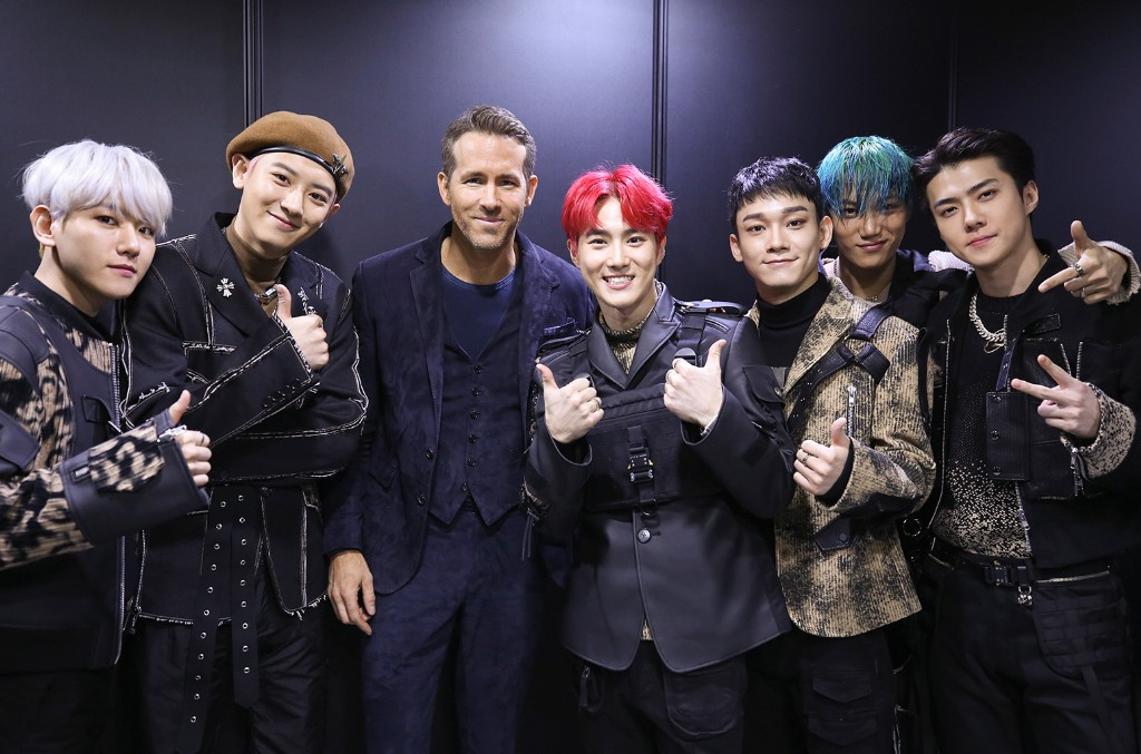 EXO Members and Ryan Reynolds