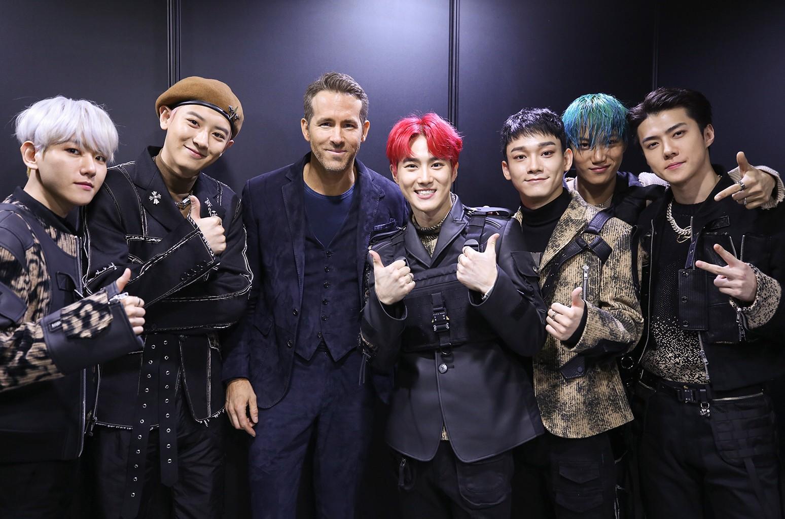 EXO Members and Ryan Reynolds