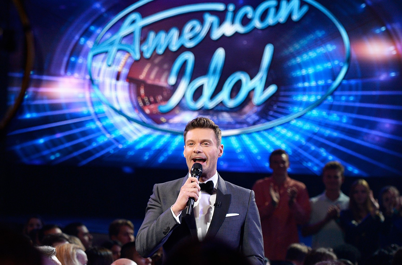 Ryan Seacrest speaks in the audience during Fox's American Idol Finale For The Farewell Season at Dolby Theatre on April 7, 2016 in Hollywood, Calif.