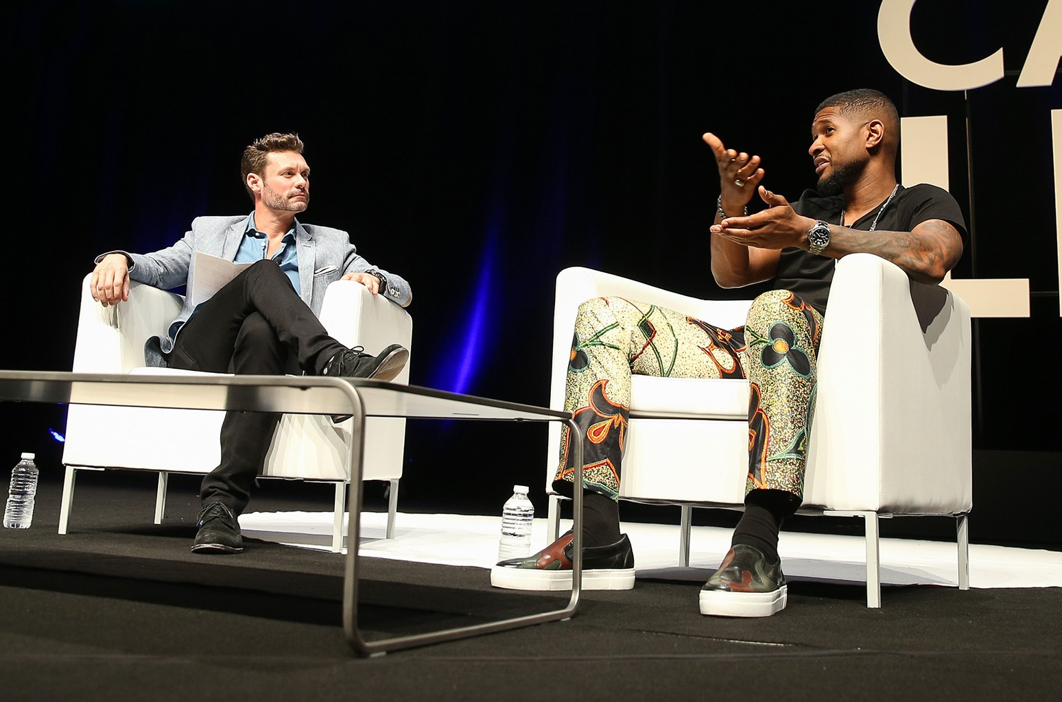 Usher speaks to Ryan Seacrest during 'An Intimate Conversation with Usher'
