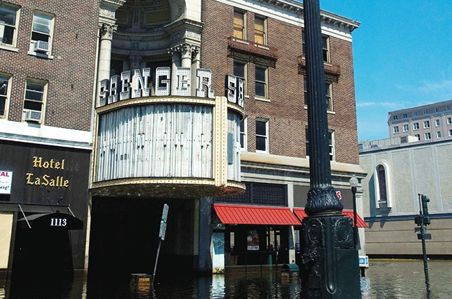 Saenger theatre venue surrounded in the flood waters after Hurricane Katrina