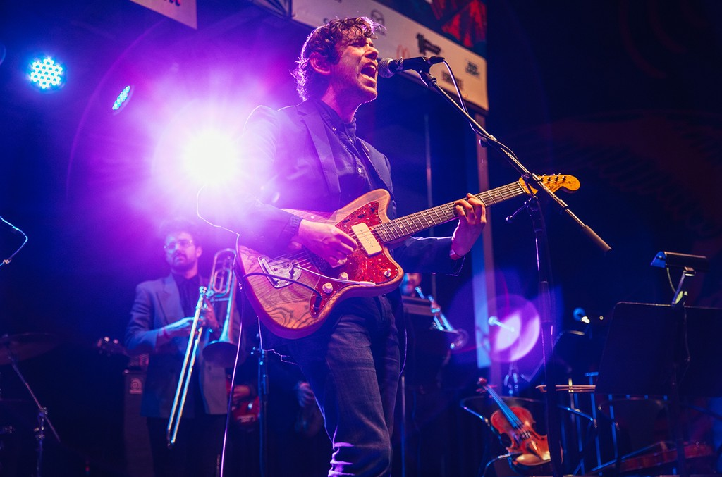Sam Cohen performs during the Amazon Resistance Radio Showcase at The Belmont during SXSW in Austin, Texas on March 14, 2017.