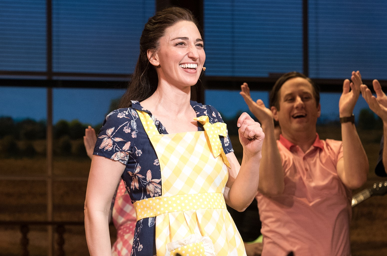 """Sara Bareilles performs during the curtain call for Broadway's """"Waitress"""" at The Brooks Atkinson Theatre on March 31, 2017 in New York City."""