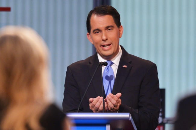Scott Walker participates in the Republican presidential primary debate