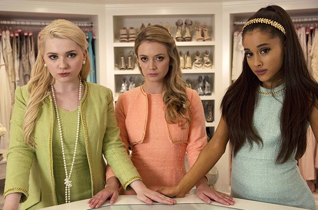 Scream Queens Abigail Breslin as Chanel #5, Billie Lourd as Chanel #3 and guest star Ariana Grande