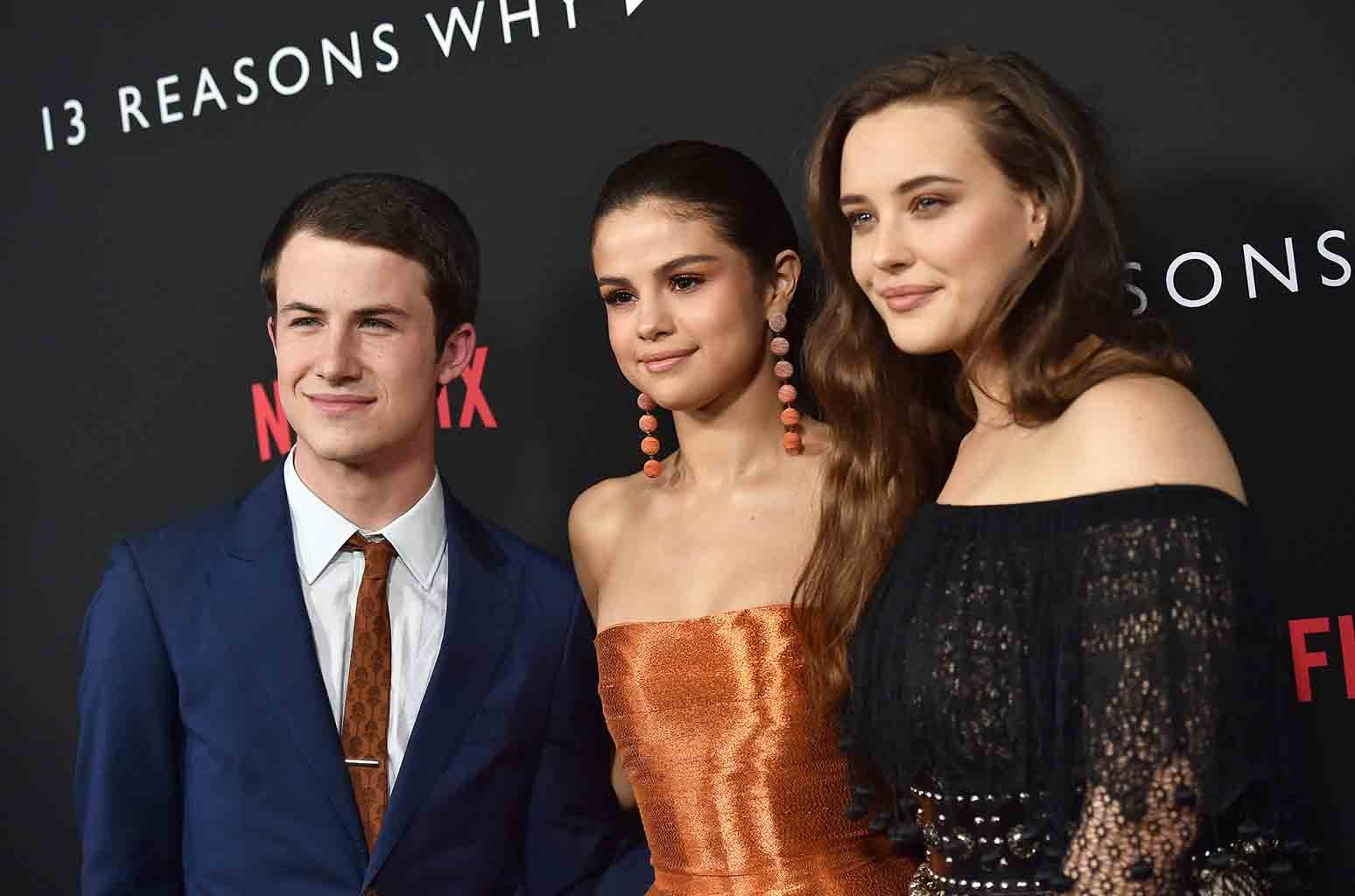 Dylan Minnette, Selena Gomez and Katherine Langford arrive at the Premiere of Netflix's 13 Reasons Why at Paramount Pictures on March 30, 2017 in Los Angeles.