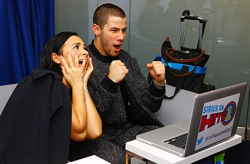 Demi Lovato and Nick Jonas visit the SiriusXM Studios