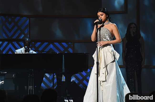 Selena Gomez performs onstage during the Billboard Women in Music
