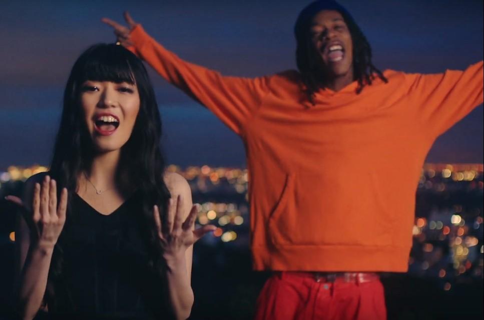 "Sena Kana and Wiz Khalifa in the ""Up"" music video."