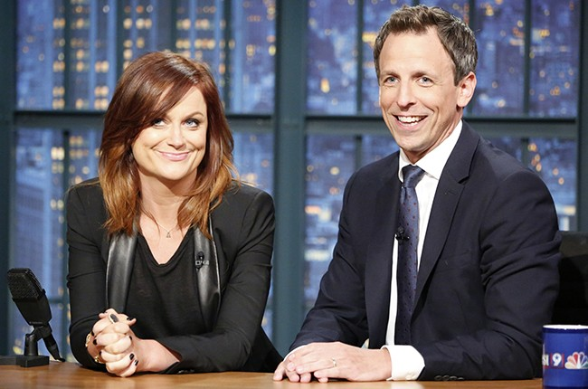 Amy Poehler and Seth Meyers during 'Really, with Seth & Amy' segment during Late Night with Seth Meyers on June 24, 2015.