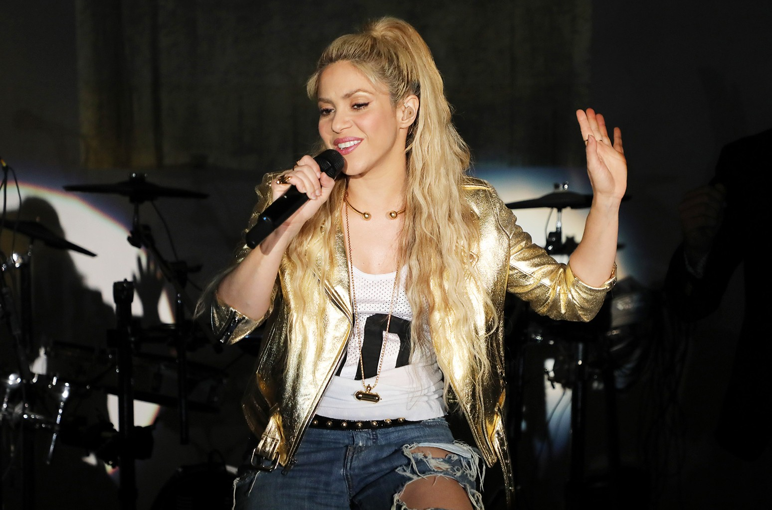"""Shakira is seen performing at her """"El Dorado"""" Album Release Party at The Temple House on May 25, 2017 in Miami."""