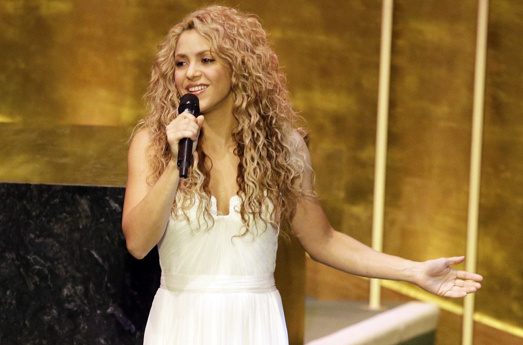 Shakira performs on Sept. 25, 2015 at United Nations headquarters.