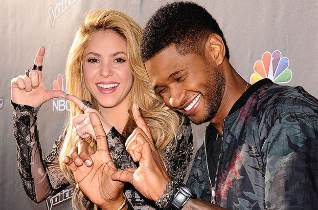 Shakira and Usher attend The Voice red carpet
