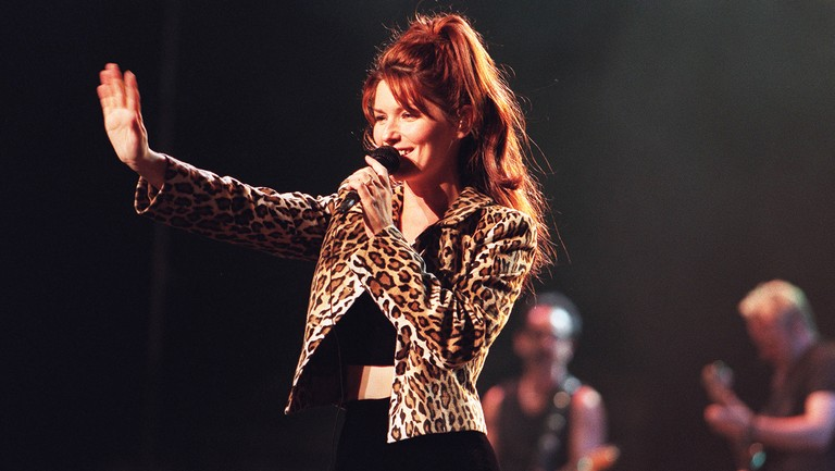 <p>Shania Twain performs at the New York State Fair in 1998.</p>