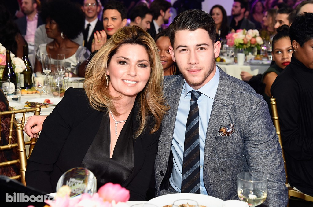 Shania Twain and Nick Jonas attend the Billboard Women in Music 2016 event on Dec. 9, 2016 in New York City.