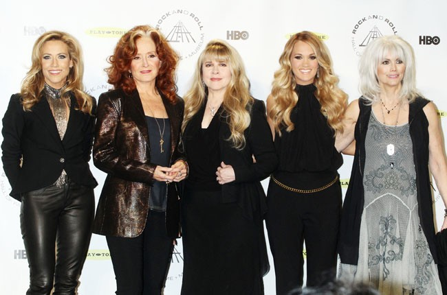 Sheryl Crow, Bonnie Raitt, Stevie Nicks, Carrie Underwood and Emmylou Harris at the Rock And Roll Hall Of Fame Induction Ceremony