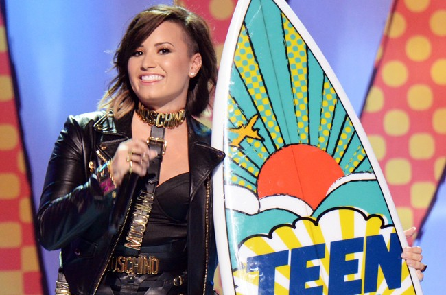 """Demi Lovato, winner of """"Choice Summer Song"""" onstage during FOX's 2014 Teen Choice Awards"""