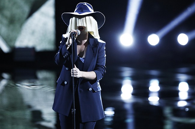 "Sia performs ""Elastic Heart"" on The Voice on April 7, 2015."