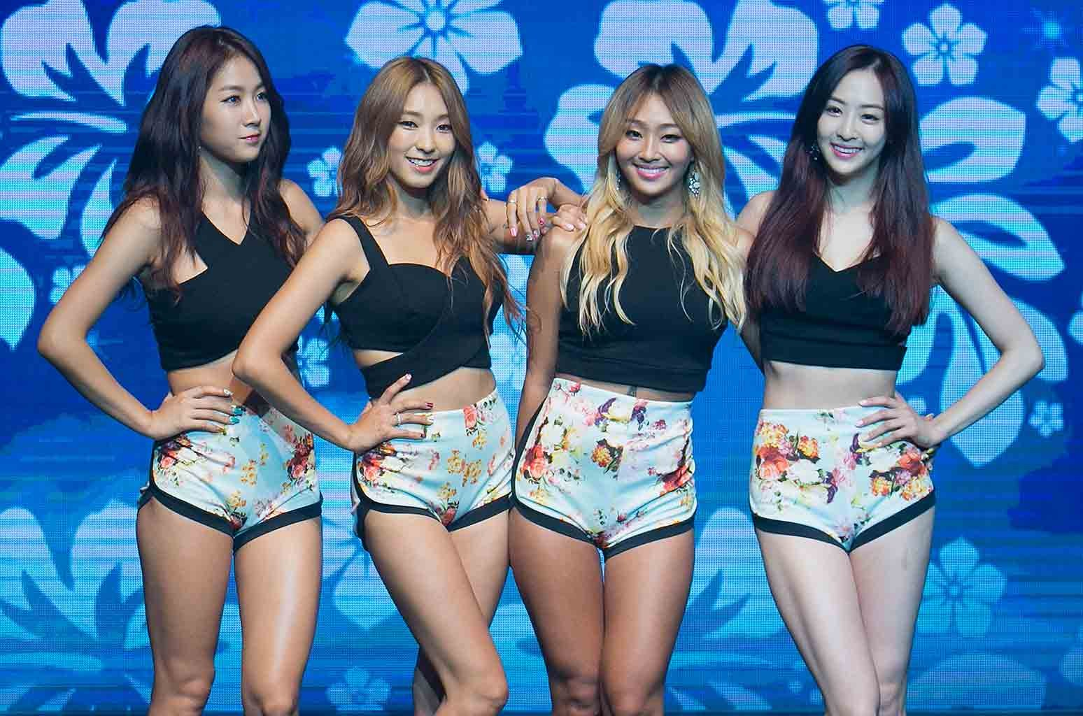 Soyou, Bora, Hyolyn (Hyorin) and Dasom of South Korean girl group SISTAR perform onstage during their new album 'Touch and Move' showcase at Ilchi Art Hall on July 21, 2014 in Seoul, South Korea.