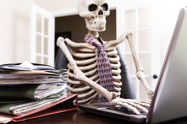 Business: Skeleton of man who worked himself to death.