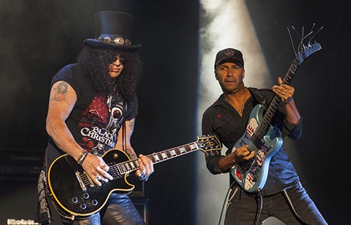 Slash and Tom Morello perform with Ozzy Osbourne at the Voodoo Music Experience