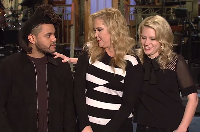 The Weeknd and Amy Schumer with Saturday Night Live's Kate McKinnon.