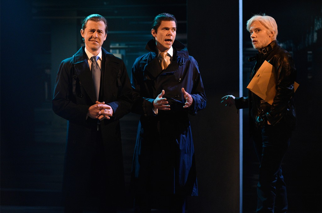 """Alex Moffat as Eric Trump, Mikey Day as Donald Trump Jr., Kate McKinnon as Julian Assange during """"WikiLeaks Cold Open"""" on Saturday Night Live in Studio 8H on Nov. 18, 2017."""