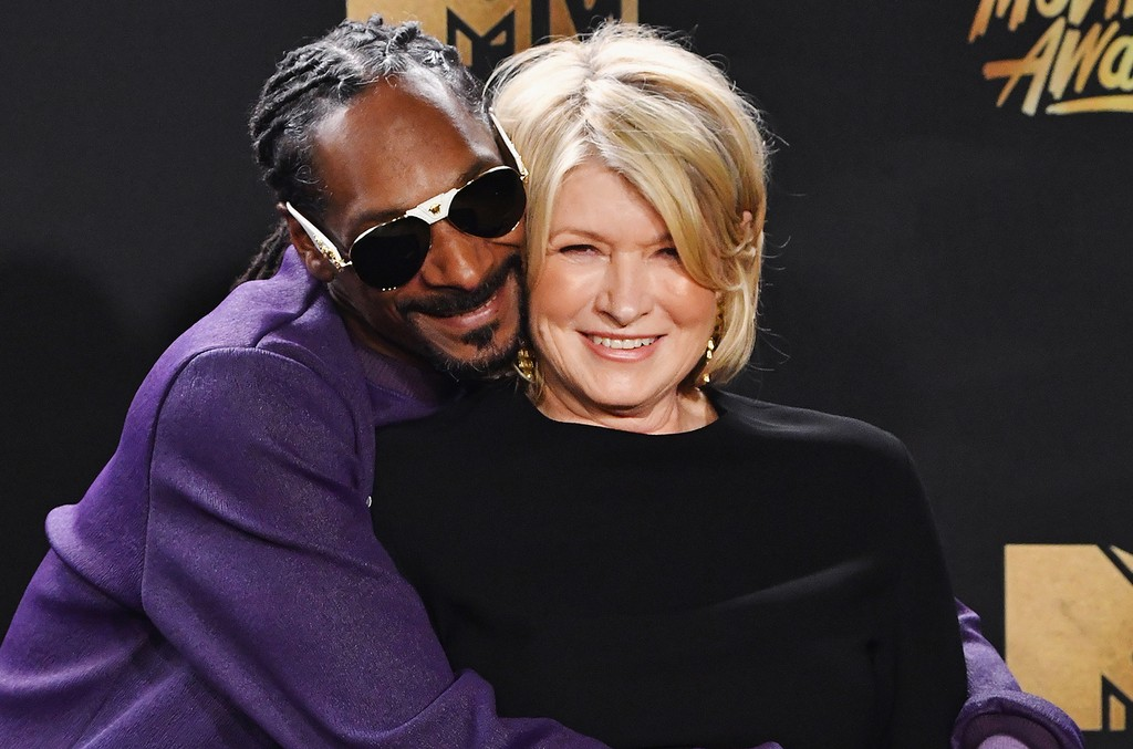 Snoop Dogg and Martha Stewart pose in the press room at the 2017 MTV Movie and TV Awards at The Shrine Auditorium on May 7, 2017 in Los Angeles.