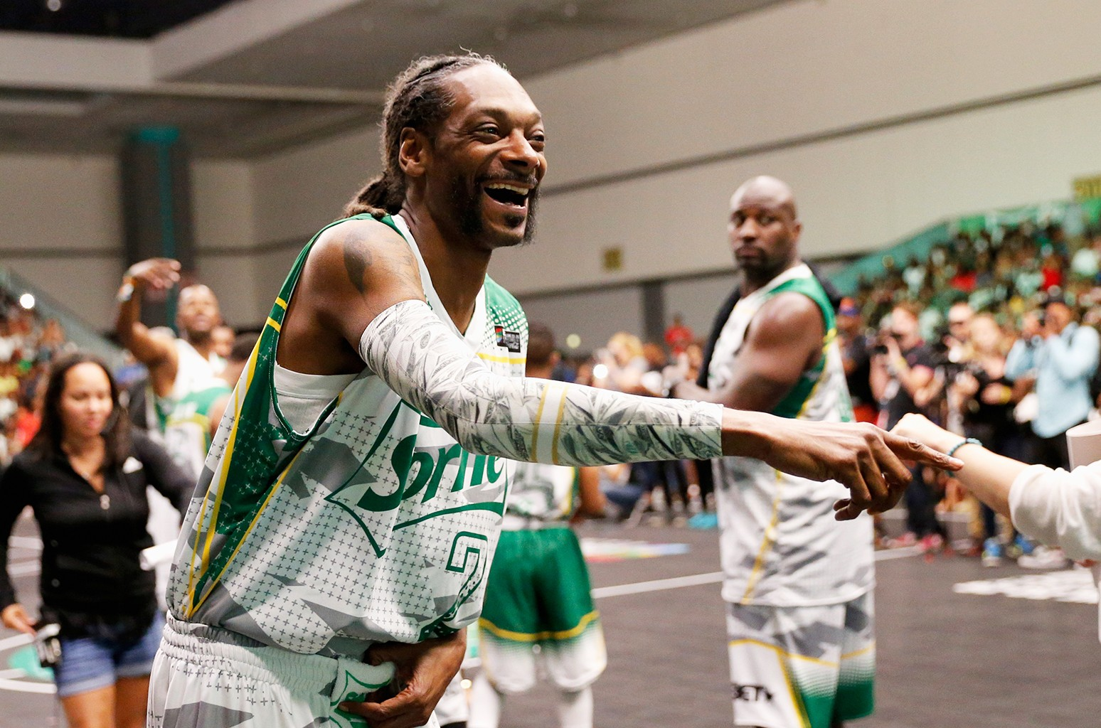Snoop Dogg participates in the celebrity basketball game presented by Sprite during the 2016 BET Experience on June 25, 2016 in Los Angeles.