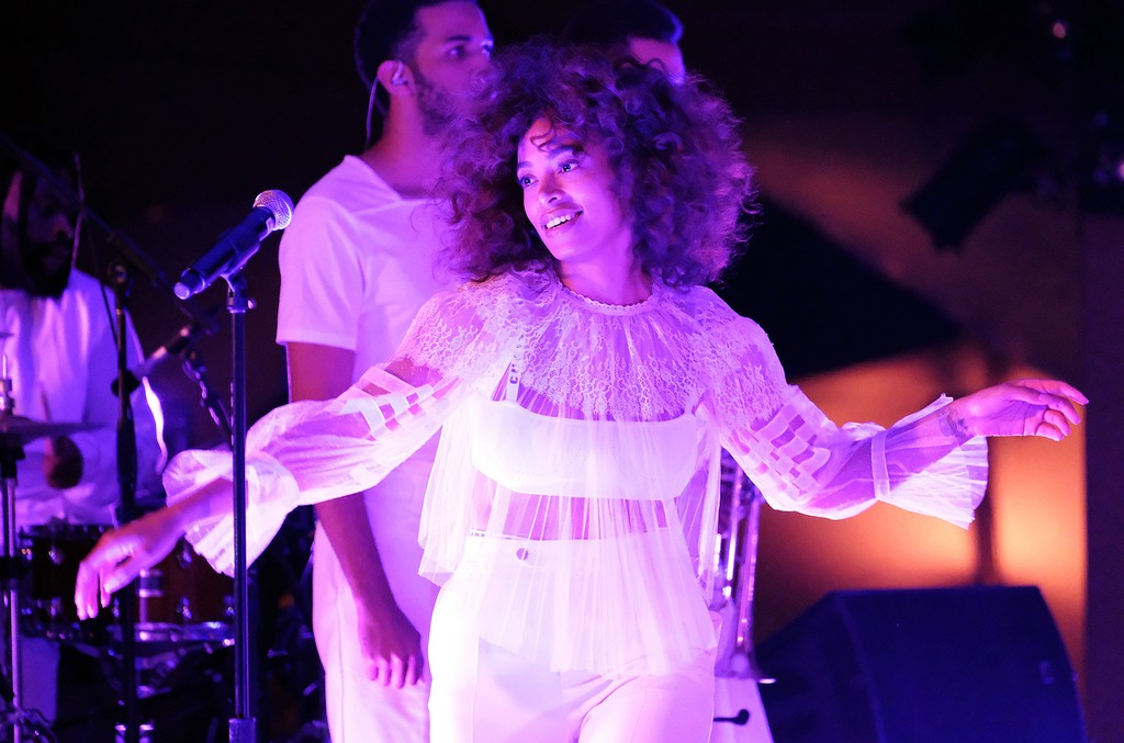 Solange Knowles performs at the after party during the first cruise collection by Maria Grazia Chiuri for Dior show in the Upper Las Virgenes Canyon on May 11, 2017 in Calabasas, Calif.