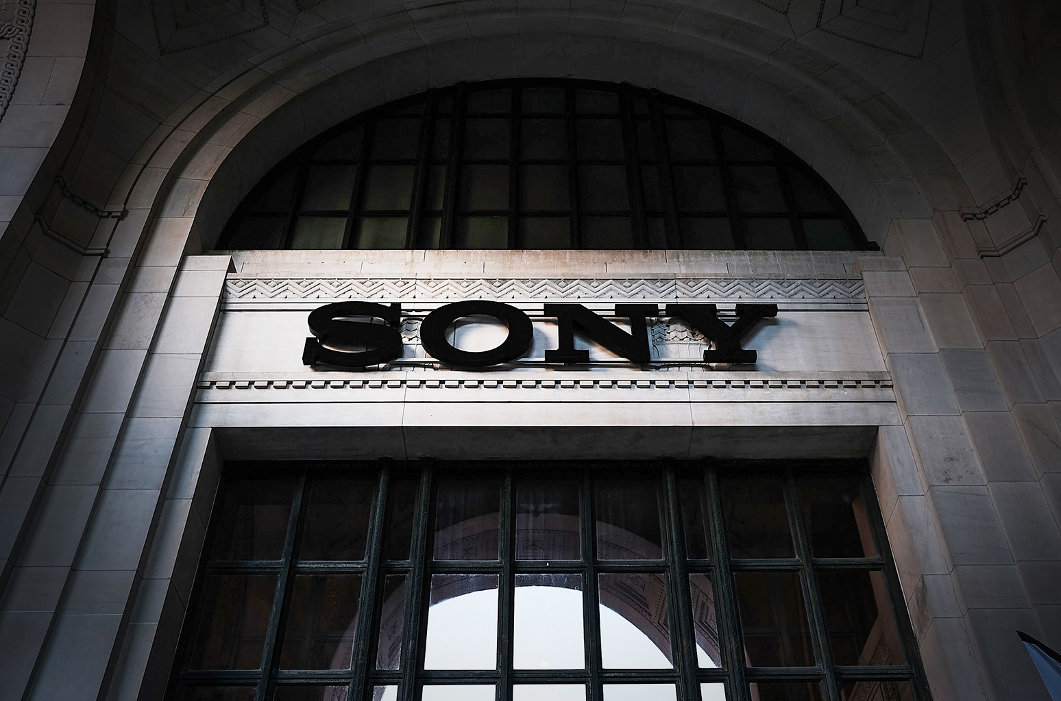 A sign advertises a Sony store in Manhattan on Nov. 1, 2016 in New York City.