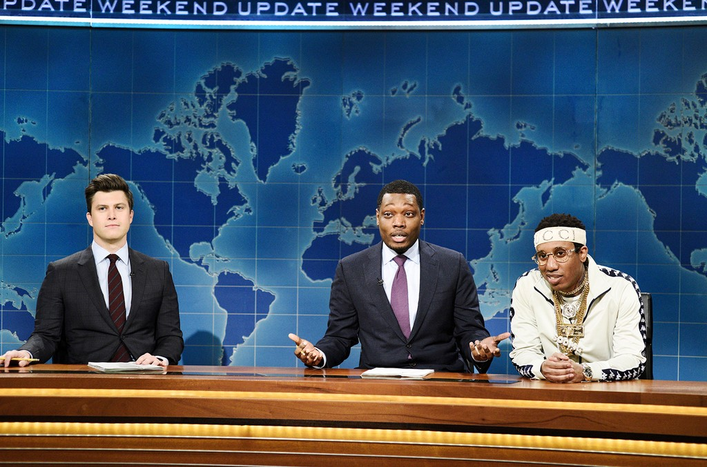 Anchor Colin Jost, anchor Michael Che, and Chris Redd as Soulja Boy