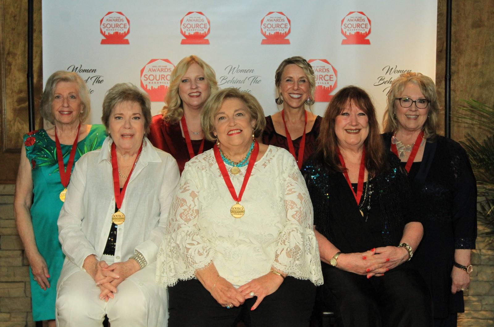 Front row (seated): Gayle Hill, Judi Turner, Trisha Walker-Cunningham. Back row: Grace Reinbold, Beverly Keel, Erika Wollam-Nichols, Sarah Brosmer at the 2019 Source Hall of Fame Awards