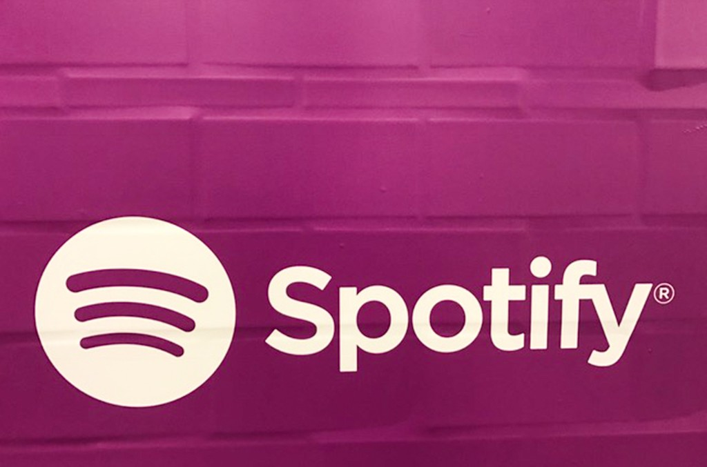 Purple Spotify ads, which seem to confirm that Prince music will be available on major streaming services soon, appeared in New York's Union Square subway station on the morning of Jan. 30, 2017.
