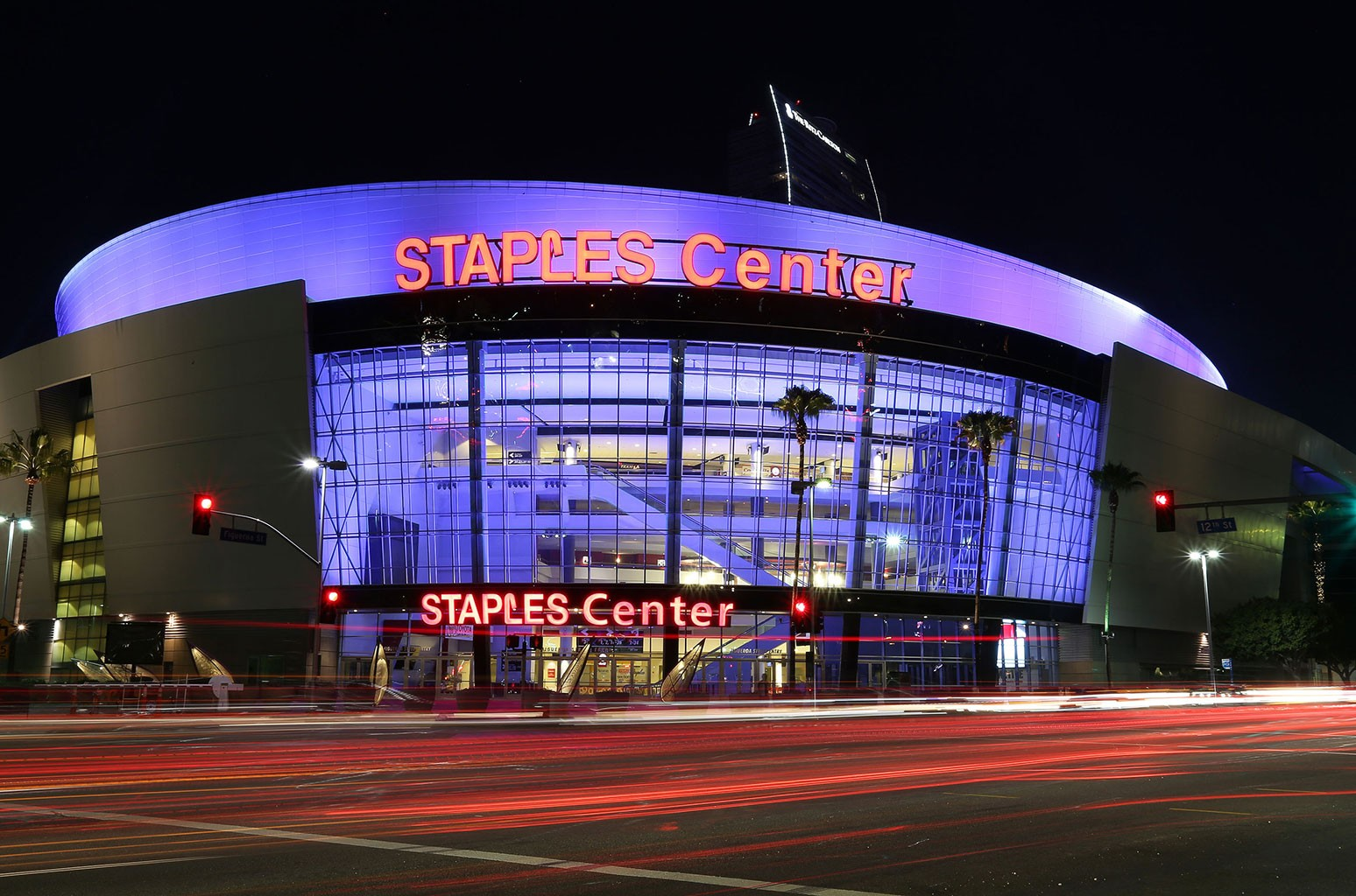 An exterior view of Staples Center in downtown Los Angeles on Aug. 29, 2015 in Los Angeles.