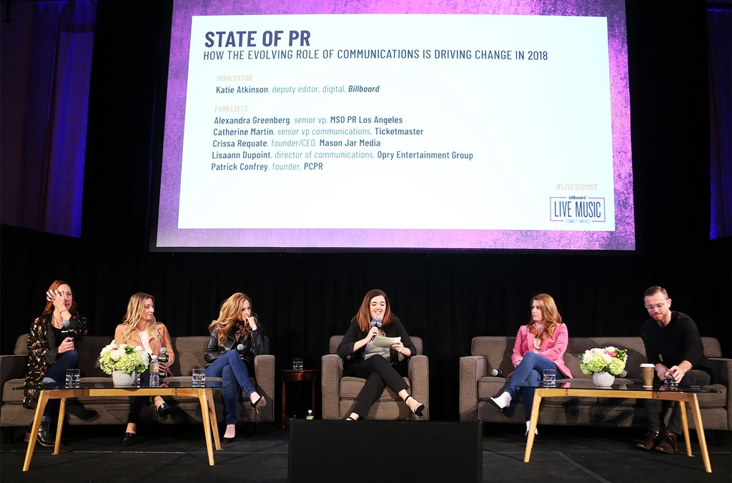 'State of PR: How the Evolving Role of Communications is Driving Change in 2018' panel during the 2018 Billboard Live Music Summit + Awards at the Montage Beverly Hills on Nov. 14, 2018 in Beverly Hills, Calif.