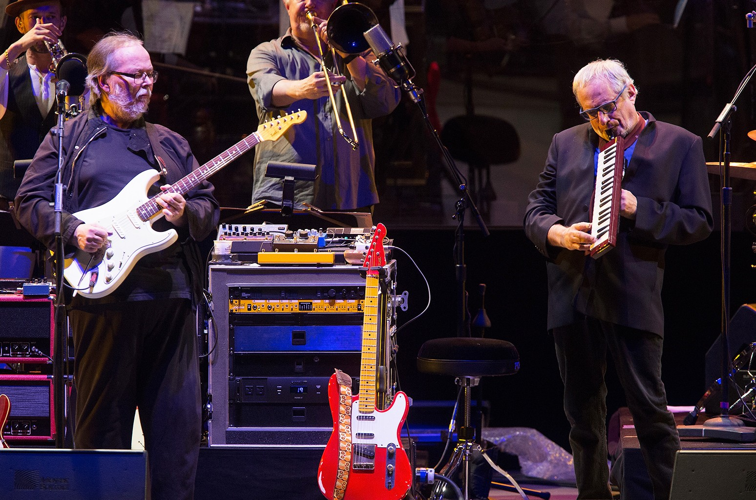 Walter Becker and Donald Fagen of Steely Dan perform at the Hollywood Bowl Opening Night at the Hollywood Bowl on June 18, 2016 in Hollywood, Calif.