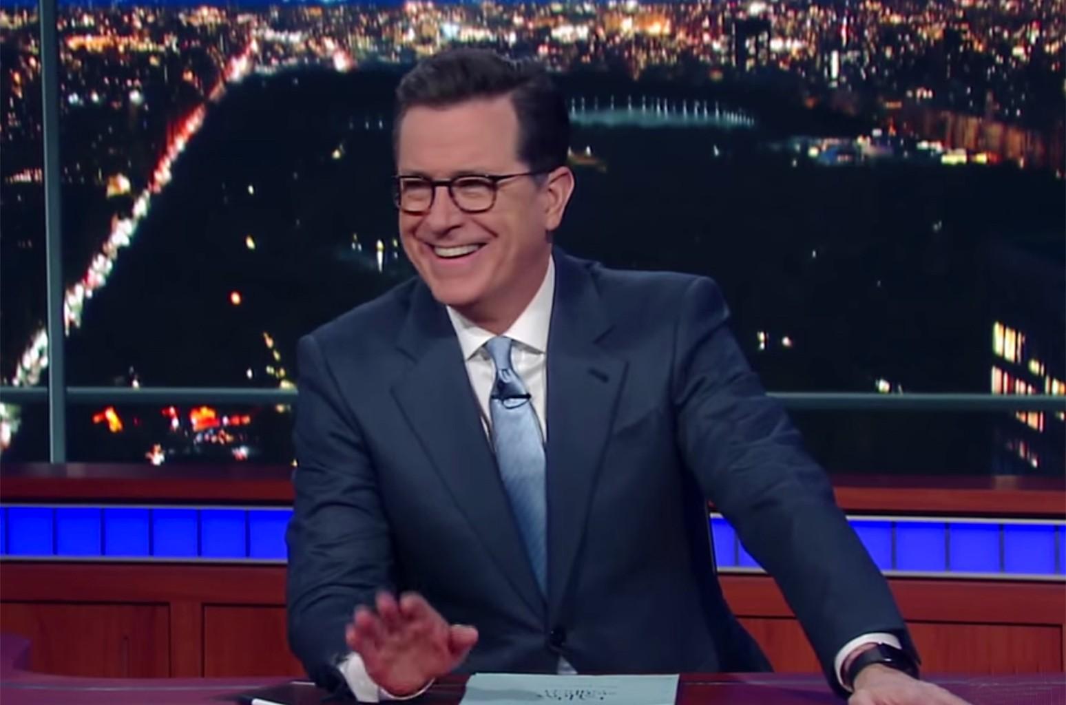 Video still of Stephen Colbert responding to Kid Rock's New Grill Line.