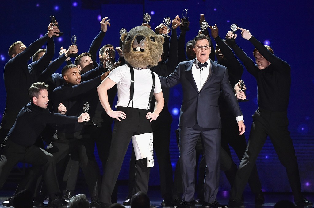 Stephen Colbert performs onstage during the 2017 Tony Awards at Radio City Music Hall on June 11, 2017 in New York City.