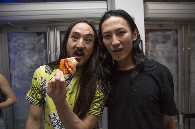 Steve Aoki and Alexander Wang pose for a portrait at the first breakfast party at Red Bull Guest House in Miami