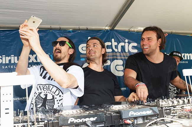 """Steve Aoki and Axwell and Ingrosso attend SiriusXM""""s """"UMF Radio"""" Broadcast Live From The SiriusXM Music Lounge"""