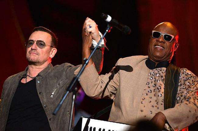 Bono and Stevie Wonder at Global Citizen Festival