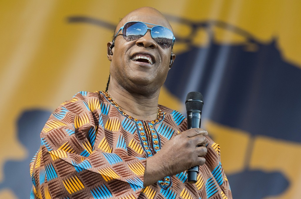 Stevie Wonder performs at the 2017 New Orleans Jazz & Heritage Festival at Fair Grounds Race Course on May 6, 2017 in New Orleans.