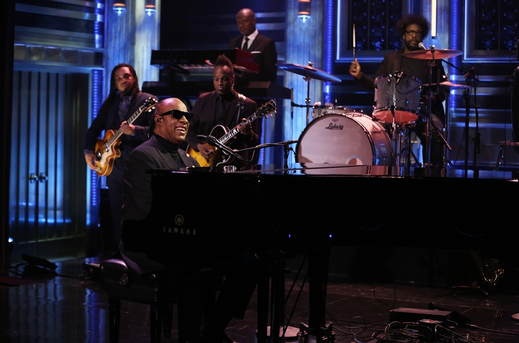 Stevie Wonder Stevie Wonder performs with The Roots on 'The Tonight Show Starring Jimmy Fallon' on Jan. 11, 2017.