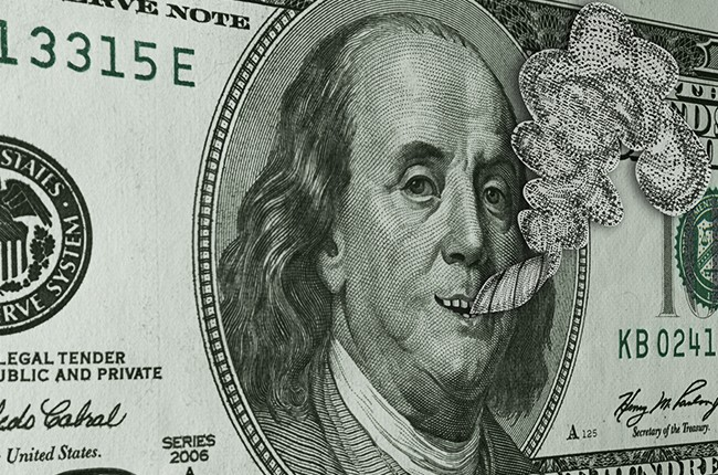 Ben Franklin Smoking Reefer and Smiling on Hundred Dollar Bill