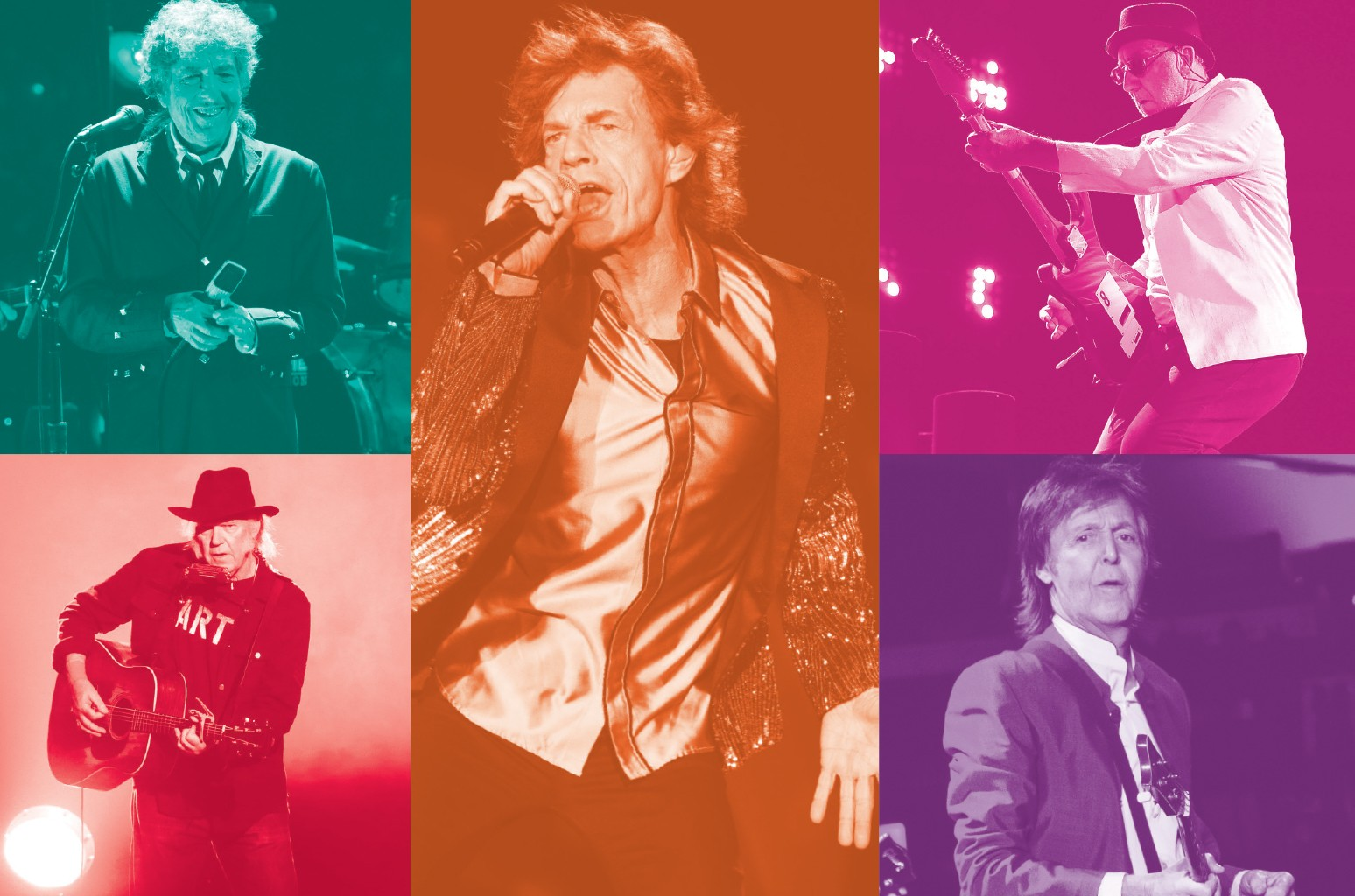 The three-night classic-rock extravaganza features an unprecedented bill. Clockwise from top left: Dylan, The Rolling Stones, The Who, McCartney and Young.