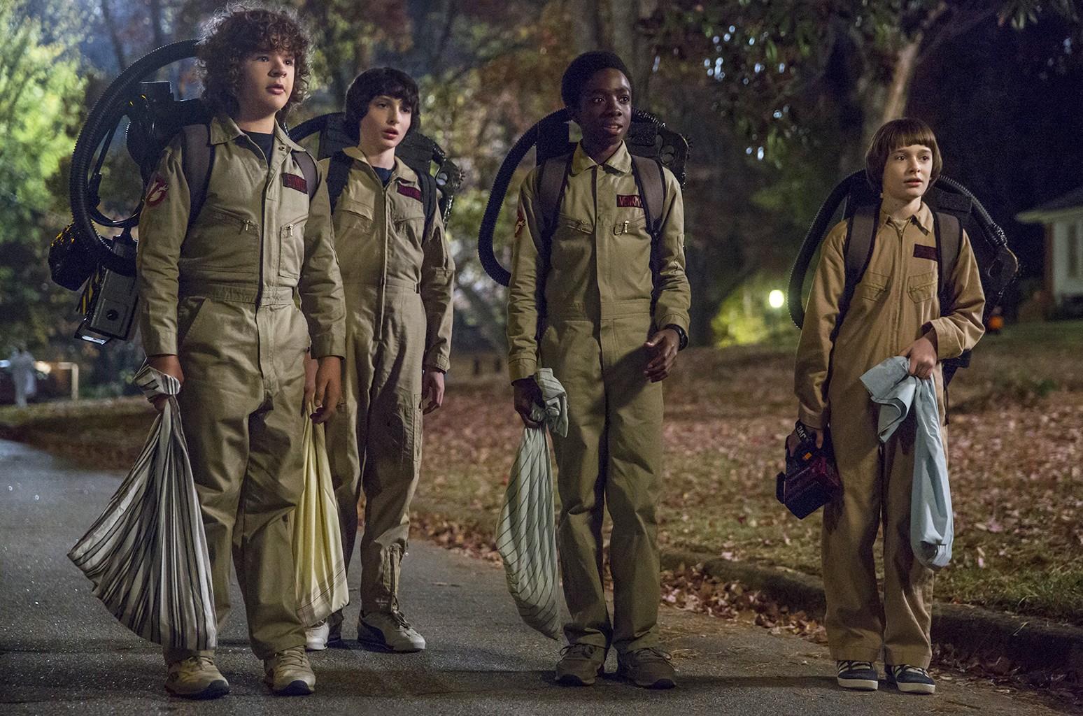 Gaten Matarazzo, Finn Wolfhard, Caleb McLaughlin, Noah Schnapp in season 2 of Stranger Things