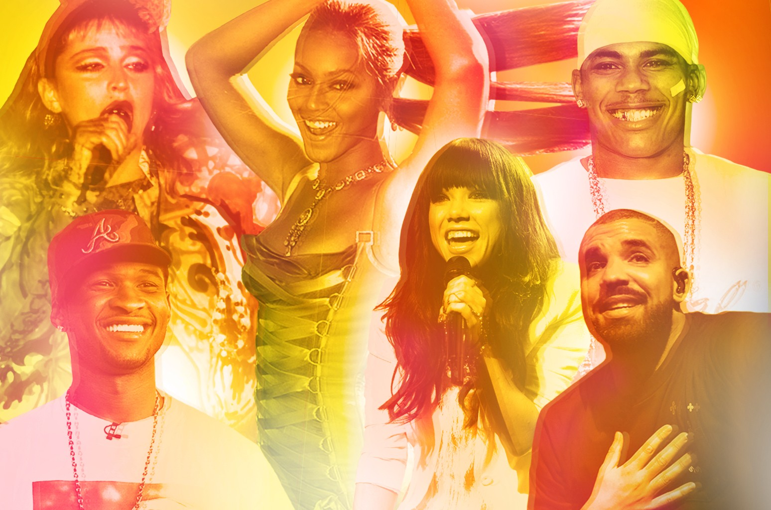 Clockwise from top left: Madonna, Beyonce, Nelly, Drake, Carly Rae Jepsen & Usher