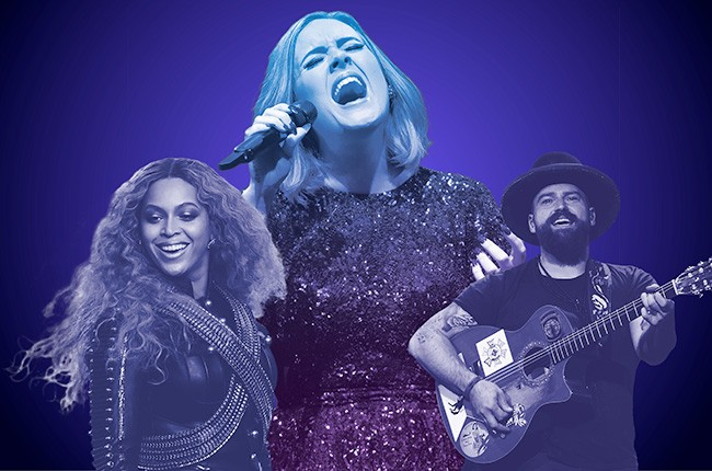 Clockwise from top: Adele, Zac Brown and Beyoncé are among the summer's top headliners.